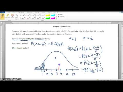 Normal Distribution Rainfall Example finding Probability