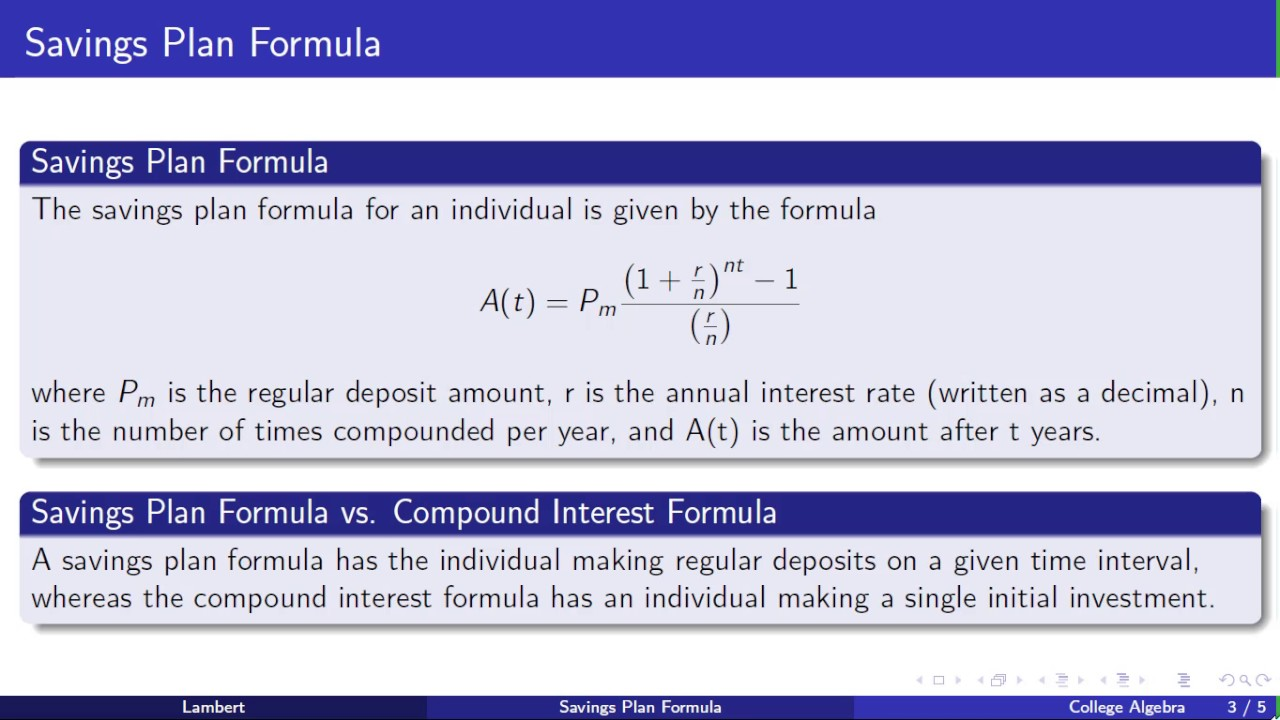 College Algebra: Savings Plan Formula - YouTube