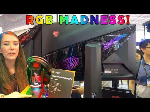 MSI GOODIES at Computex 2018 - with 240hz / RGB Monitors!!
