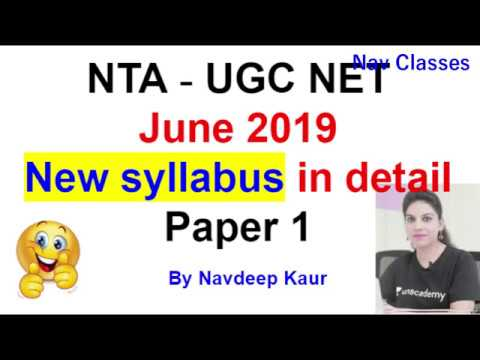 June 2019  New syllabus in detail Paper 1 NTA  UGC NET