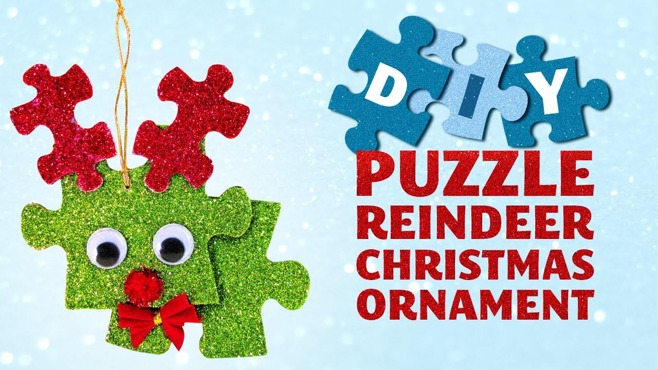 DIY Puzzle Reindeer Christmas Ornament