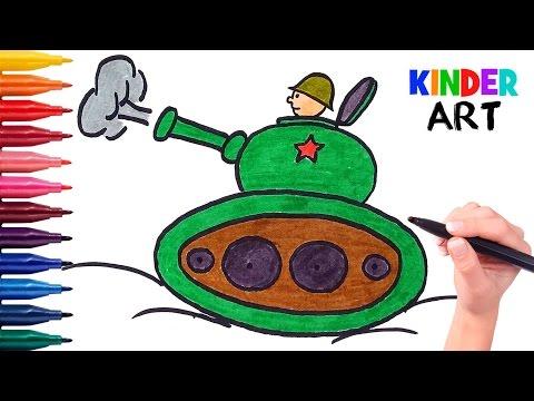 Как легко нарисовать танк с танкистом ребенку поэтапно. Видео для детей.