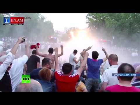 Water cannons deployed in Armenian electricity price hike protest