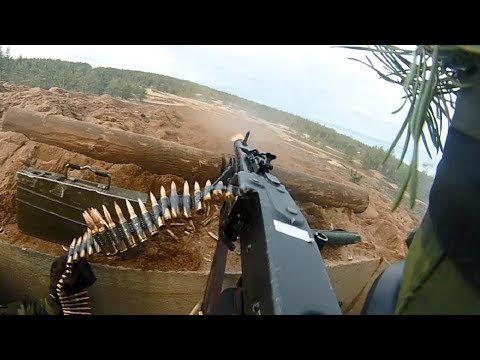 Swedish Army Helmet Cam of MG3 Machine Gunner - Heavy Intense Live Fire Exercise