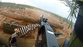 Swedish Army Helmet Cam of MG3 Machine Gunner - Heavy Intense Fire
