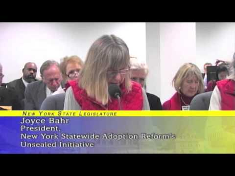 Joyce Bahr  Public Hearing to Allow Adoptees to Access their Original Birth Certificates
