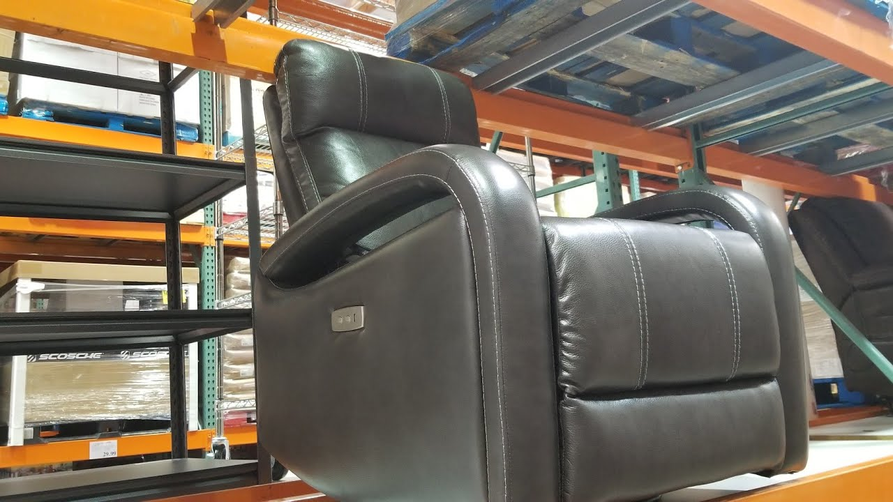 costco power swivel leather recliner with usb charging 399