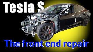 Tesla S. The front end repair. Ремонт переда.