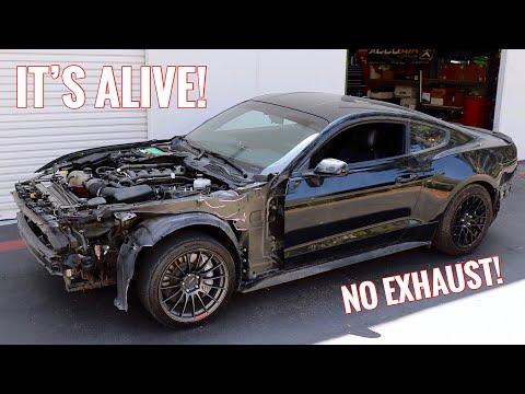 Wrecked Mustang GT First Start up & Drive!