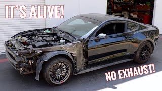 Wrecked Mustang GT First Start up & Drive!