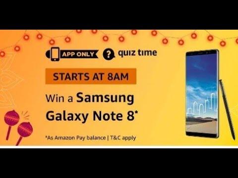 Amazon Quiz answers today  Win Samsung Galaxy Note 8  22 October