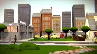 Animation: a city, going backwards through time.