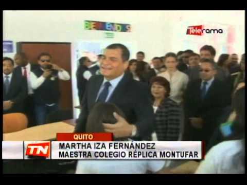 Presidente Correa inauguró año escolar en colegio réplica Montúfar