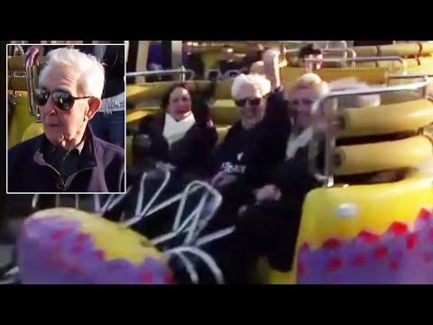 Un anciano inglés festejó sus 105 años arriba de una montaña rusa