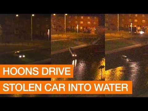 Hoons Drive Stolen Car Into Water