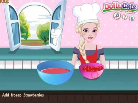 Рецепт Elsa Cooking Strawberry Pretzel Salad (Холодное сердце Эльза готовит клубничный салат)