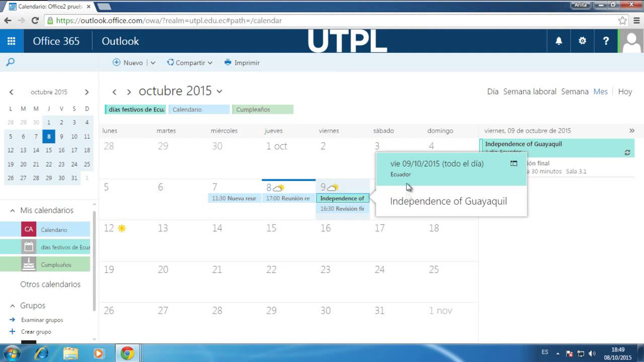 Office365: Gestionar el Calendario del Office - YouTube