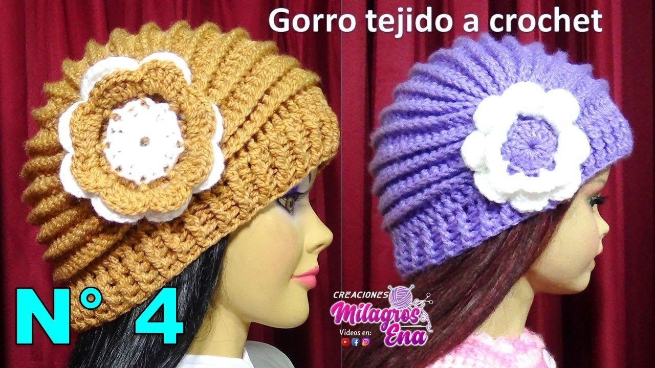 Gorro Tejido A Crochet Con Flor Paso A Paso Con Puntos Relieves
