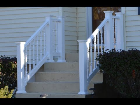 Vinyl Railing Attached To Concrete Patio Stairs Youtube | Short Handrail For Stairs | Exterior Handrail Ideas | Deck Railing Ideas | Spiral Staircase | Concrete | Wrought Iron