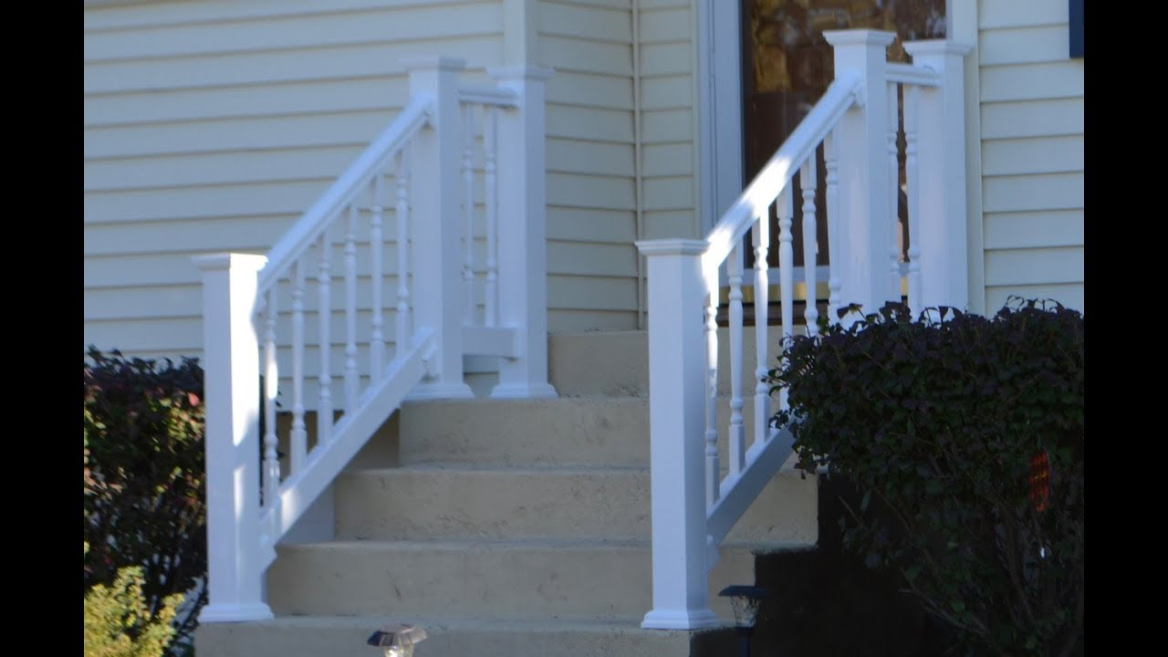 Vinyl Railing Attached To Concrete Patio Stairs Youtube | Vinyl Railings For Outside Steps | Balusters | Composite | Wood | Precast Concrete Steps | Railing Installation