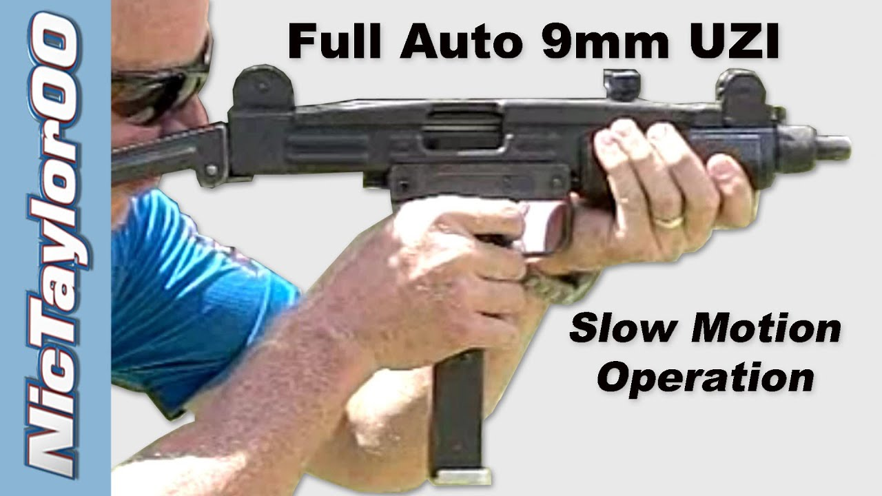 UZI 9mm Full Auto 9mm - Slow Motion Video