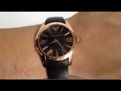 Mens Emporio Armani Rose Gold Tone Leather Watch AR2043