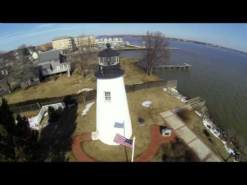 Aerial Tour of Concord Point Lighthouse, Havre de Grace, Maryland 21078 Harford County