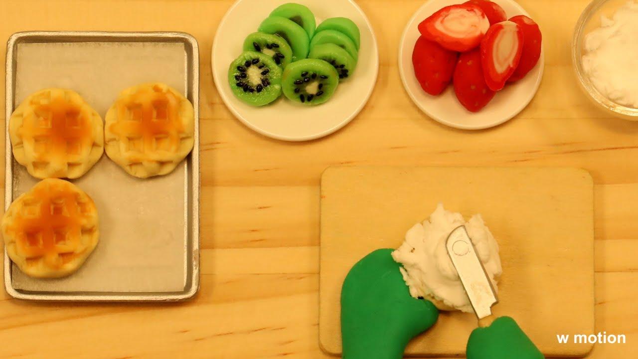 와플 ASMR/스톱모션/애니메이션/Stop Motion Cooking/clay animation/클레이/만들기/Waffle/요리/cooking/w motion