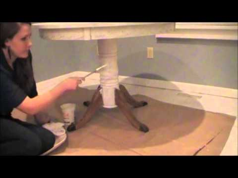 DIY Chalk-like Paint Table Makeover - Antique White (Part 1