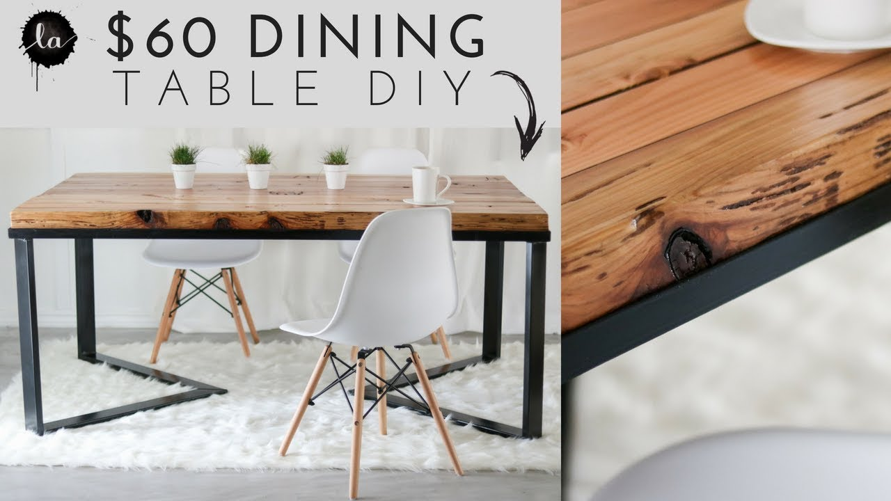 diy scandinavian dining table wood metal recycled wood youtube. Black Bedroom Furniture Sets. Home Design Ideas