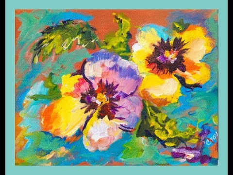 10- Minute Acrylic Painting of Pansies with Ginger Cook