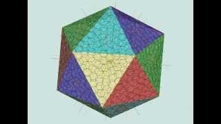Icosahedral Goldberg polyhedron design 2v~16v