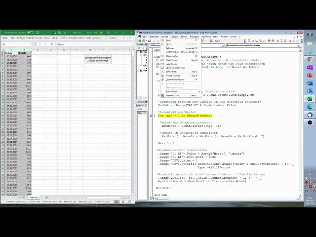 179. Excel-VBA: Auch eine Möglichkeit: Monatswerte mit Hilfe von zwei Arrays blitzschnell kumulieren