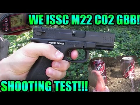 WE ISSC M22 CO2 Gas Blowback Airsoft Pistol Shooting Test: Chrono/Accuracy/Damage Test!