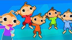 Fünf kleine Affen springt auf dem Bett | Cartoon für Kinder | Kompilation | Beliebte Kinderlieder