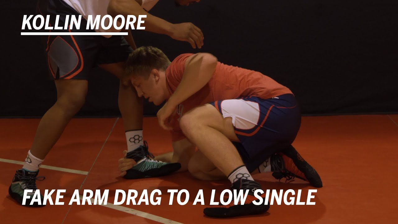 Fake Arm Drag to a Low Level Single: Wrestling Moves with Kollin Moore | RUDIS