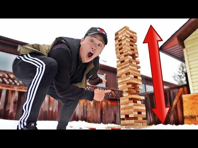 DIY GIANT JENGA CHALLENGE!!! (SCARY TOWER COLLAPSE)