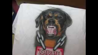 Airbrushed Rottweiler T-shirt 1/2