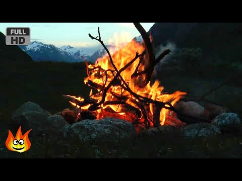 Crackling Mountain Campfire with Relaxing River, Wind and Fi