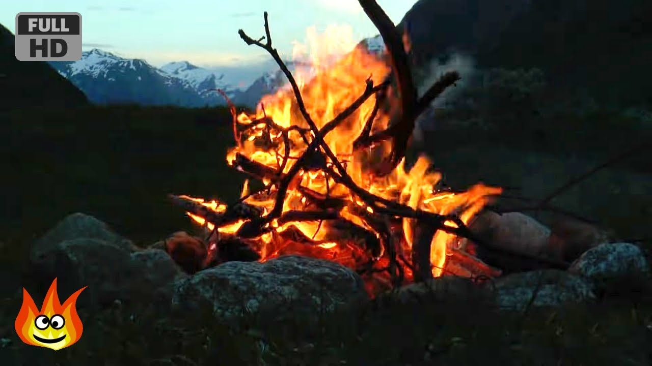 Crackling Mountain Campfire with Relaxing River, Wind and Fire ...