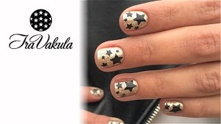 Black Stars & Golden Glitter Nail Art - Дизайн ногтей: Черные звезды золотые блестки