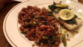 Plated Review - Cod With Herb Butter, Farro, And Lemon Roasted Asparagus
