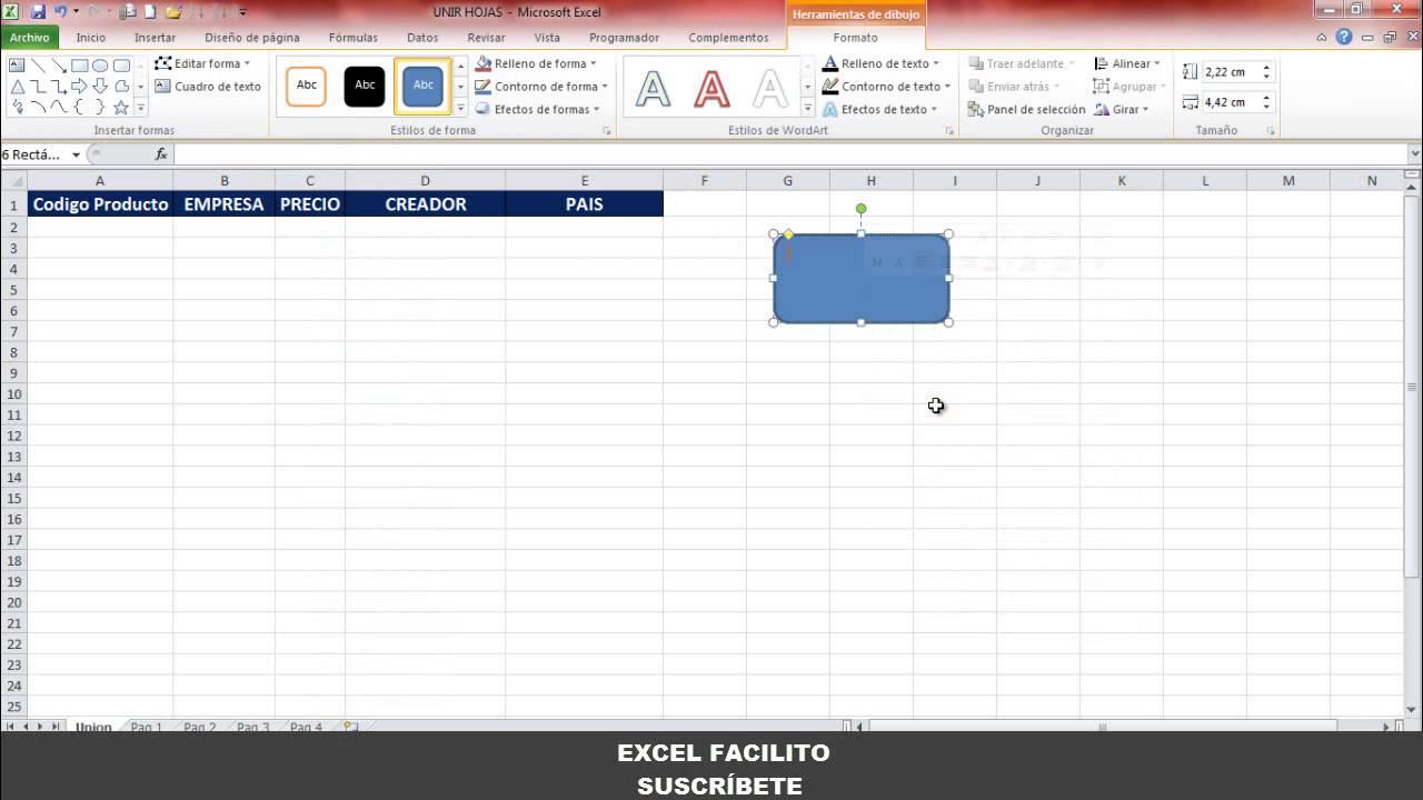 Macro para unir varias hojas de Excel - YouTube