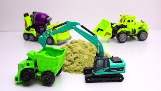 Transformers Excavator, truck, cranes Stop Motion - Tobot Police Cars Stuck in the jelly & Car Wash