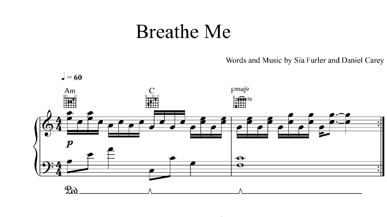 Breathe Me Sia Sheet Music Midi Download Youtube