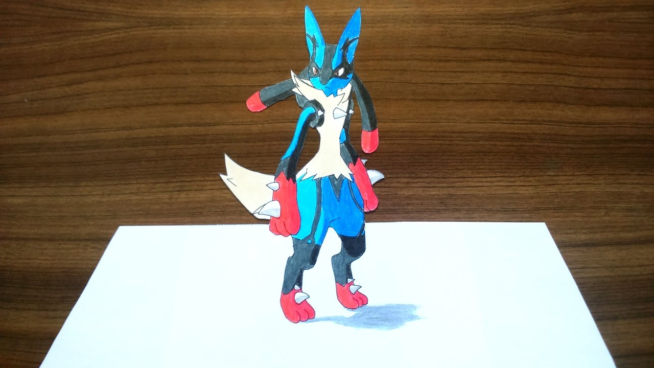 Drawing Mega Lucario Pokemon 3D