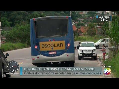 Ônibus em más condições transportam mais de 400 alunos em SP | SBT Brasil (10/04/18)