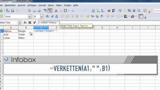 LibreOffice und OpenOffice Calc - Die Funktion Verketten
