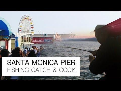 SANTA MONICA PIER! Fishing Baits, Sabiki, Green Lights  (CATCH & COOK!))