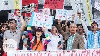 Khoảng 100 lao động Việt ở Đài Loan biểu tình yêu cầu tuyển dụng trực tiếp giữa hai chính phủ